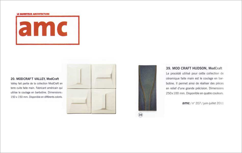ModCraft modern tile featured in French architecture magazine