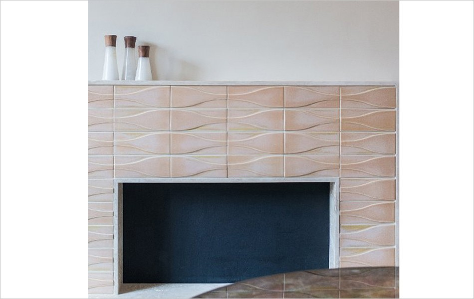 Dimensional Hudson tile surrounds fireplace