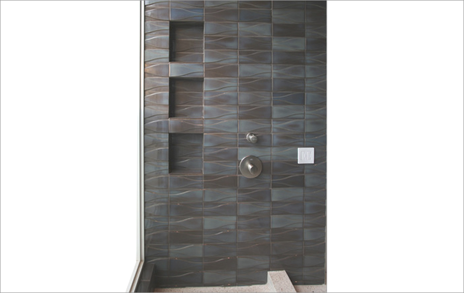 Hudson dimensional tile in Midnight Blue Glaze