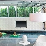 ModCraft dimensional wall tile Valley as feature wall in pool in white glaze