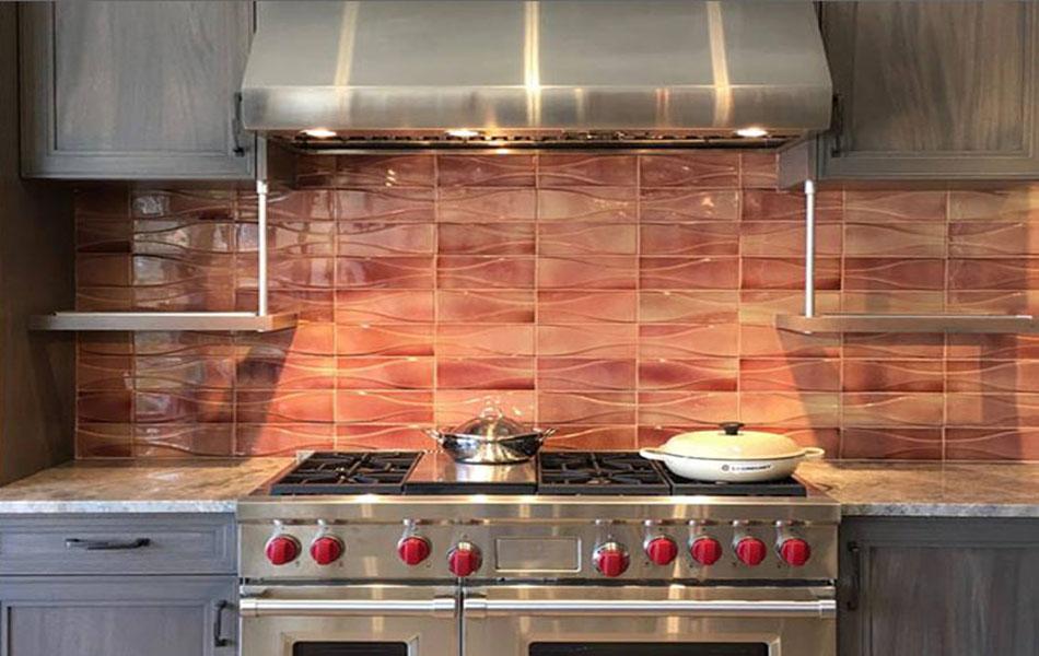 Hudson Dimensional Wall tile in Lobster Glaze
