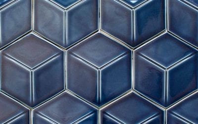 "ModCraft dimensional tile style ""Hexaline"" in pacific blue glaze"