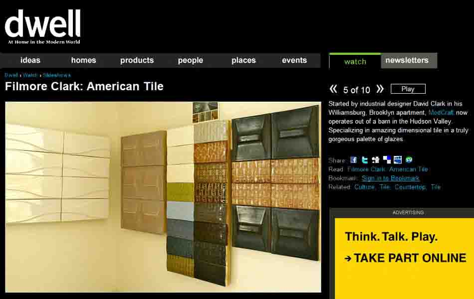 ModCraft contemporary tile named one of top 10 made in USA tile by Dwell