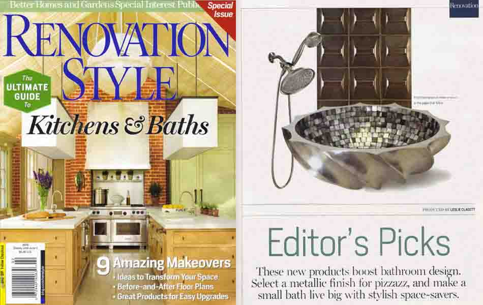 "ModCraft Peak tile featured in Better Homes and Garden Renovation Style ""Select a metallic finish for pizzazz"""