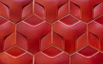 "ModCraft dimensional tile style ""hexon"" in pomegranate"