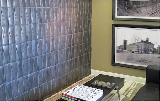 Hudson dimensional wall tile in Pewter glaze placed vertically