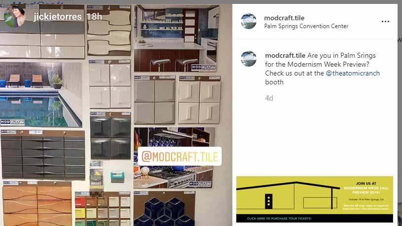 ModCraft dimensional Wall tile at Palm Springs Modernism Week Fall Preview